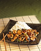 Cashew Stir Fry with White Rice; Chopsticks