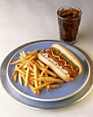 Hot Dog with Onion, Ketchup, Mustard and Relish; Fries and Soda