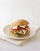 Turkey, Tomato and Brie Cheese Sandwich on a Roll