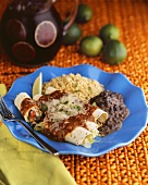 Enchiladas with Black Beans and Rice