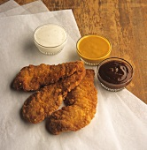 Fried Chicken Tenders with Three Dipping Sauces