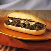 Steak and Cheese Sandwich on an Orange Plate
