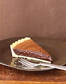 Slice if Chocolate Cream Pie with Fork on Plate