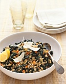Barley and wheat risotto with green cabbage and parmesan