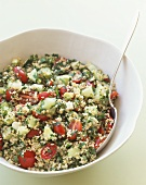 Tabouleh in Serving Bowl with Spoon