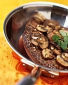 Pan Seared Steak with Mushrooms; In Pan