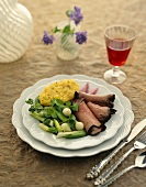 Sliced Roast Beef Dinner Plate with Green Onion Salad