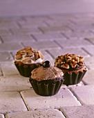 Three Assorted Cupcakes; Chocolate Mocha, Chocolate Walnut and Vanilla Almond