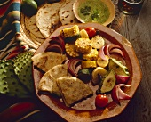 Grilled Vegetables with Cilantro Sauce and Quesadillas