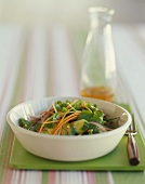 Asian Watercress Salad with Carrot, Cucumber and Red Onion; Bottle of Dressing