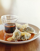 Teamed Dumplings with Ponzu Soy Sauce