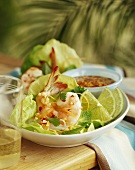 Prawns with Asian Sweet Chili Sauce; Limes