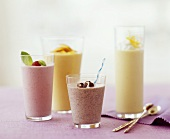 Raspberry, Peach, Coconut and Chocolate Shakes