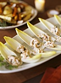 Endive and Baby Shrimp Appetizer on a Platter