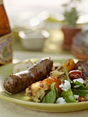 Grilled Sausage with Bread Salad