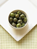 Whole Gourmet Olives in a White Bowl