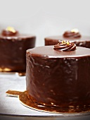Three Layer Chocolate Cake with Raspberry Preserve Filling Covered in Chocolate Ganache