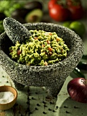 Freshly Made Guacamole in Mortar and Pestle
