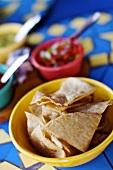 Bowl of Tortilla Chips; Salsa