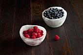 Two Ice Bowls; One with Raspberries; One with Blueberries
