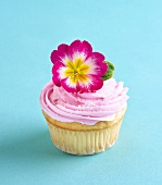 Pink Frosted Cupcake with Pink Primrose Garnish