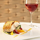 Citrus Roasted Sablefish with Citrus Salad; Glass of Rose Wine
