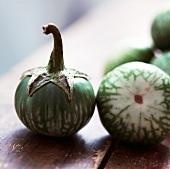 Thai Eggplants on Wooden Table