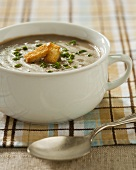 Bowl of Cream of Mushroom Soup with Croutons