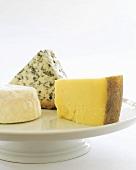 Three Cheeses on a White Pedestal Dish