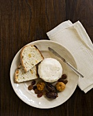 Soft Ripened Goat Cheese with Dried Fruit and Bread; From Above