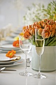 Pretty Spring Table with Orange Tulips