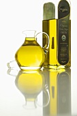 Bottle and Pitcher of Organic Cold Press Olive Oil
