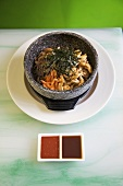 Bibimbap (Rice with meat and vegetables, Korea)