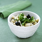 Bowl of Greek Pasta with Olives and Spinach