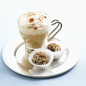 Cappuccino with Two Chocolate Hazelnut Truffles