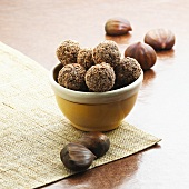 Bowl of Chocolate Chestnut Truffles; Chestnuts