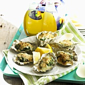 Grilled Oysters Rockefeller; Orange Soda