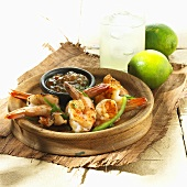 Grilled Shrimp in Wooden Bowl with Chutney; Limeade