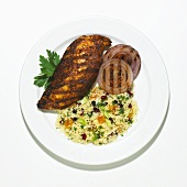 Grilled Tunisian Chicken with Couscous and Grilled Onions