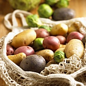 Heirloom Potatoes and Brussels Sprouts in a String Bag