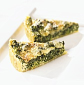 Two slices of spinach quiche