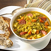 Bowl of Split Pea Soup with Bread