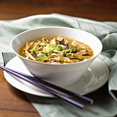 Bowl of Hot and Sour Soup; Chopsticks