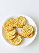 Plain Round Crackers on a White Plate