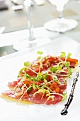 Tuna Sashimi with Chilies, Extra Virgin Olive Oil and Maldon Sea Salt