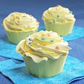 Vanilla Cupcakes with Pastel Sprinkles