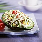 Southwestern Slaw Served in an Avocado Half
