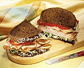 Turkey and Swiss on Rye with Red Bell Pepper; Halved