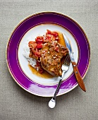 Pork Chop with White Rice and Tomato Sauce