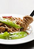 Soba Noodles with Snow Peas; Soba Noodles on Chopsticks